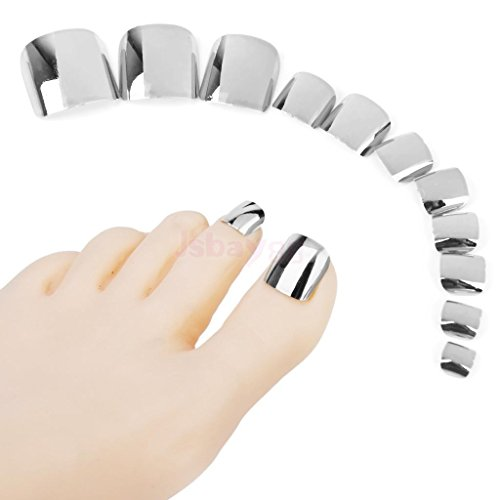 24pcs Beautiful Acrylic False Toes Tips Toenails Sexy Pure Metallic Silver Manicure Nail Tips 24pcs/set N12