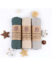Meracorallo Muslin Swaddle Blanket Silky Soft Receiving Blanket Neutral Swaddle Wrap for Baby Boys and Girls, 30% Cotton + 70% Bamboo, 47 x 47 inches, Set of 3 Solid Color (Green+Beige+Gray)