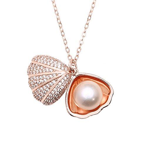 (Shengsheng Women Cultured Pearl Seashell Pendant Necklace 18K Rose Gold Filled Diamond Locket Chain 17.7'')
