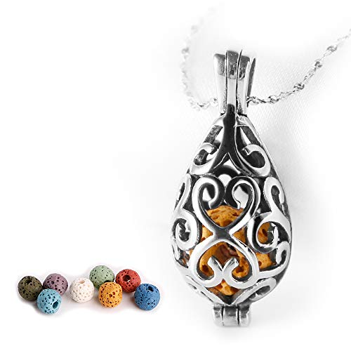 (Maromalife Polished Essential Oil Necklace Stainless Steel Necklace Diffuser Locket Silver Teardrop with 8 Colors Lava Beads)