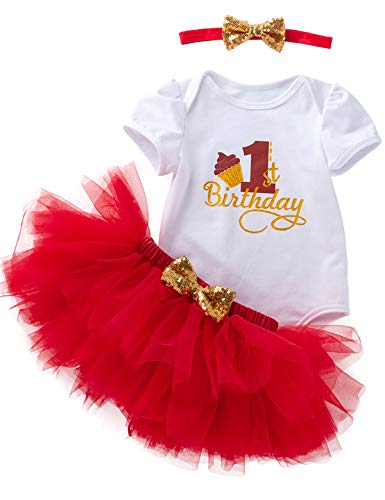 3Pcs Outfit Set Baby Girls One Year Old Birthday Lace Tutu Bodysuit Skirt with Headband (Red, 12-18 Months) ()