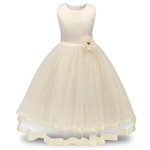 D'honneur Concours Beige Fille Robe Fleur Princesse De Filles ❤️robe Mariée Partie Demoiselle Amlaiworld xAfwqp0zf