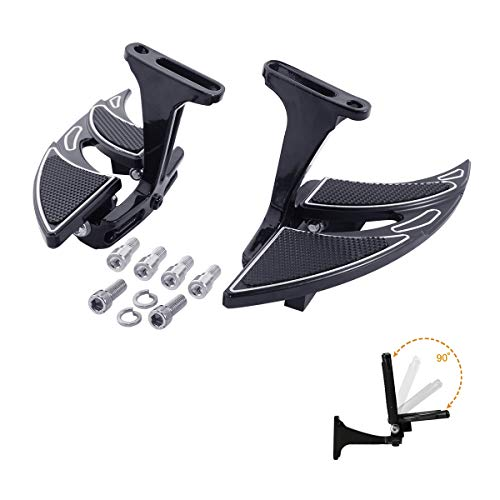 XMT-MOTO Non-slip Folding Passenger Footboard and Mount Kit fits for 1993-later Harley Davidson Touring and Trike models,Black