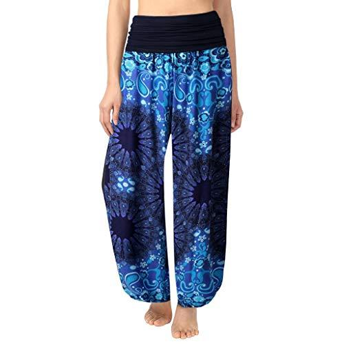 DONTAL Womens Plus Size Print Ladies Harem Full Length Pants Trouser Wide Leggings Blue