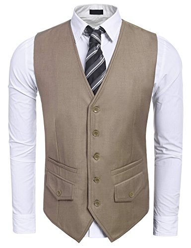 Vest, V-Neck 5 Button 2 Pocket Slim Fit Formal Casual Waistcoat (Five Button Suit Vest)