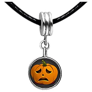 Chicforest Silver Plated sad Halloween Jack O lantern pumpkin Photo Blue Aquamarine Crystal March Birthstone Flower dangle Charm Beads Fits Pandora Charm