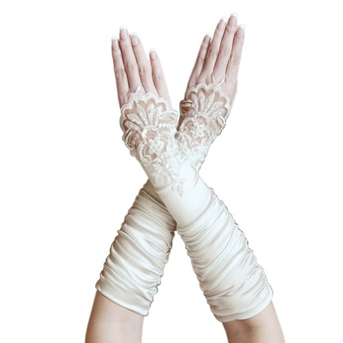 ZaZa Bridal Gathered Satin Fingerless Gloves w/Floral Embroidery Lace & Sequins-Ivory