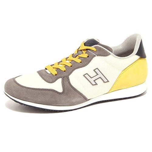 4123Q sneaker uomo HOGAN OLYMPIA X NEW grigio/giallo suede grey yellow shoe men grigio/giallo/bianco