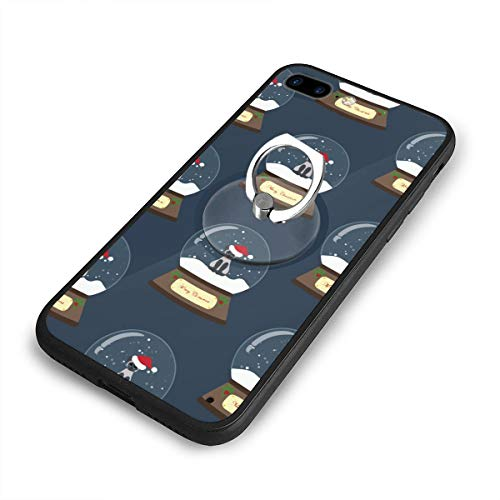 Dachshund Snowglobe - iPhone 8Plus Case,Shock-Absorption IPhone7/8Plus Phone Case Christmas Snow Globe with Cat Shockproof Series Protective Case for iPhone 7/8Plus with Rotating Stand