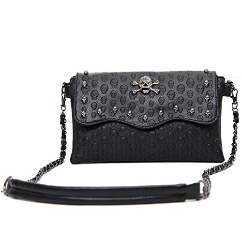 Freie Liebe Women Classic Black Skull Cross Body Bag Vintage Clutch Purse Shoulder Bag ()