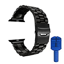 Watch 42 mm Band, Stainless Steel Metal Replacement Strap Wrist Band for Apple Watch and Sport and Edition Version 42 mm - Black