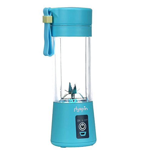 Portable USB Personal Blender Juicer Cup for Smoothies Shakes, Mini Travel Blender,Upgrade 6 Blades,Rechargeable,380ml (Blue Flip Lid 6 Personal)