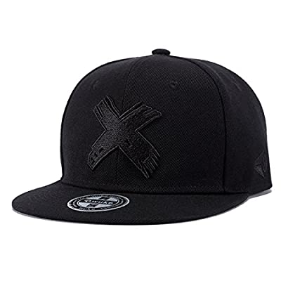 Topcoco Unisex Hip Hop Snapback X Embroidered Solid Flat Bill Baseball Caps