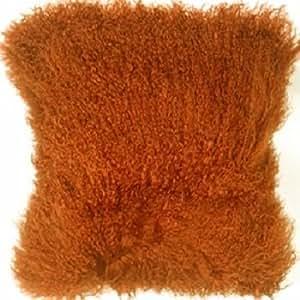 Auténtica de oveja de Mongolia cojín beige y marrón