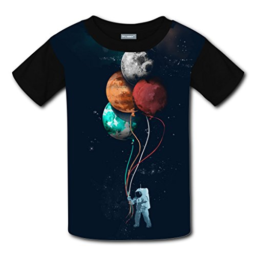 Pilot Free in Space Kids 3D Print T-shirts Top Crew Neck Boys Girls