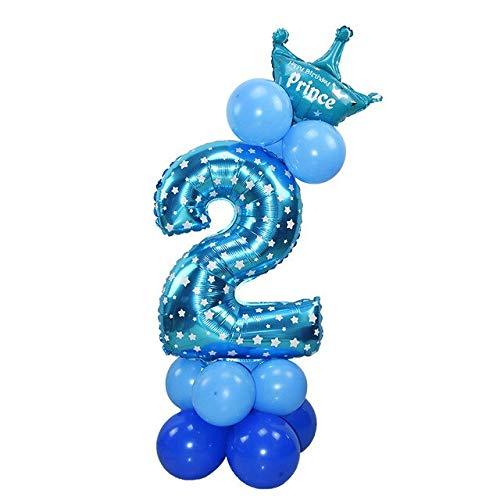 VDV Artificial Flowers 24pcs/Set Crown Number Ballons Kid Anniversary 1st Birthday Decorations Princess Prince Boy Girl Baloon Happy Birthday Balloon Kitchen Decor-Blue 2
