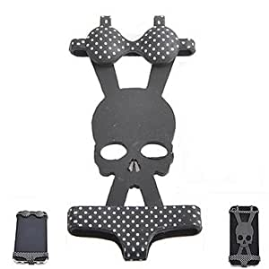AYA-nf002 Creative Skull Pattern Bikini Style Silicone Adornment for iPhone , Black
