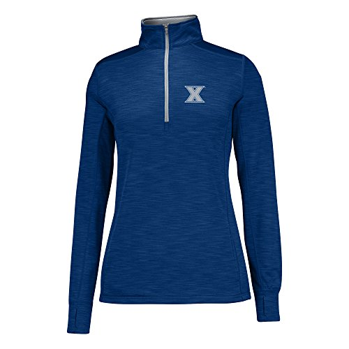 J America NCAA Xavier Musketeers Women's Courtside Poly Fleece 1/2 Zip Sweater, Medium, Navy/Cement ()