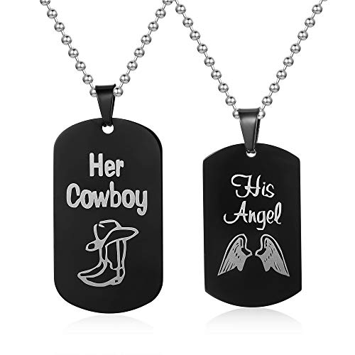 - Couple Necklace-His & Hers Matching Set Titanium Stainless Steel His Angel &Her Cowboy Couple Pendant Necklace in a Gift Box