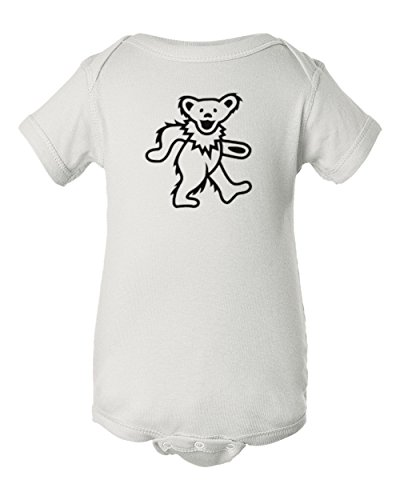 Mari Kyrios Creations Dancing Bear Baby Onesie Grateful Hippie Dead Romper PJ Jumpsuit White