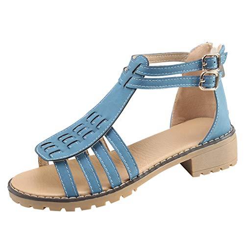 Escarpins Respirant De Danse Hauts Rome Chaussures Femmes Talons Fête Day Carrés 43 Sandales 35 Bohême Plage Bleu lin Chaussons Soldes Été hBQtsrdCx