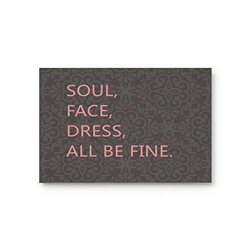 ZOE STORE Doormats 20x31.5in Rubber Backed Mat Accent Non-Slip Doormats Retro Pattern Sweet Saying: Soul Face Dress All Be Fine Love Artical Door Mat Indoor Doormat Kitchen -