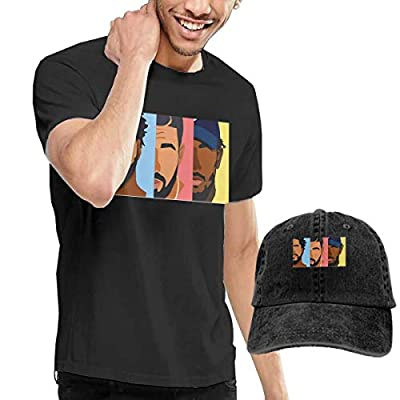 Dingtai Drake, J Cole, Kendrick Lamar Men's Short Sleeve T Shirt and Adult Washed Cowboy Hat