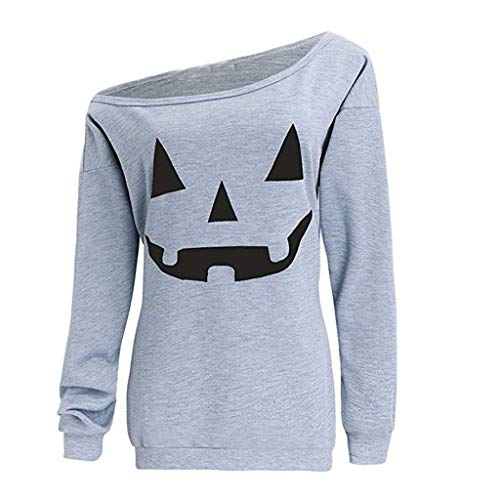ANJUNIE Women Halloween Pumpkin Print Sweatshirt Pullover Off The Shoulder Tops Shirt Slouchy ()