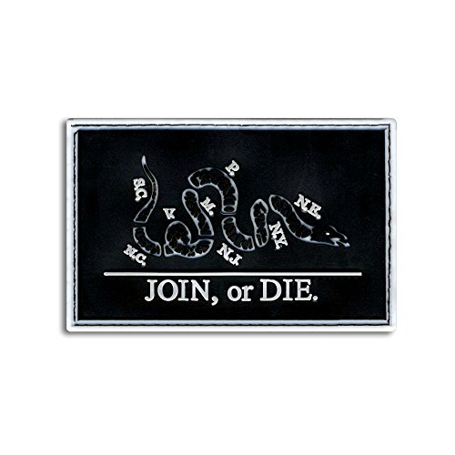 TACTICAL COMBAT BADGE MORALE PVC VELCRO BACK PATCH JOIN OR DIE BNW
