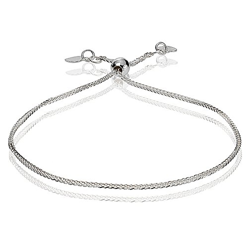 Bria Lou 14k White Gold .8mm Italian Spiga Wheat Adjustable Chain Bracelet, 7-9 Inches by Bria Lou