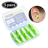 Soft Foam Earplugs,5Pair 34db Highest NRR,Hearing Protection for Sleeping Reduce Noise Quiet Please Ear Care and Comfortable, Snoring, Work, Travel,Loud Events,Shooting,Concerts,Studying Green (5)