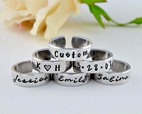 Personalized Customized Ring - Hand Stamped Aluminum Cuff