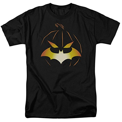 Batman -- Halloween - Jack O'Bat Logo Adult T-Shirt, Large (Halloween Party Logo)