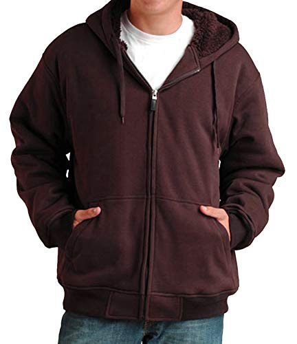 Woodland Supply Co. Mens' Sherpa Fleece Lined Zip-Up Hoodie Sweatshirt (X-Large, Dark Brown)