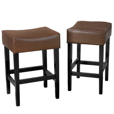 Best Selling Lopez Backless Hazelnut Leather Counter Stool, Set of 2 (26 Inch Stationary Bar Stool)