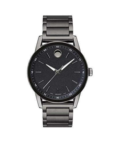 Movado Men's Museum Sport Gunmetal Watch with a Printed Index Dial, Grey/Black (Model 0607226) ()