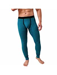 Suppion Mens Striped Breathe Patchwork Low Rise Leggings Long Johns Thermal Pant