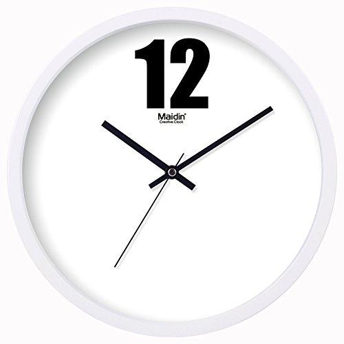 BABYQUEEN 12 Inch Stylish wall clock living room creative minimalist glass shop clock art pastoral mute decorative clock General Edition White