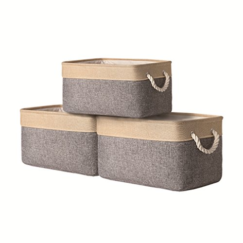 TheWarmHome Decorative Storage Bins Baskets with Cotton Rope Handles, [3-Pack] Cloth Storage Bins for Shelves,Empty Gift Baskets 15.7L11.8W8.3H inch