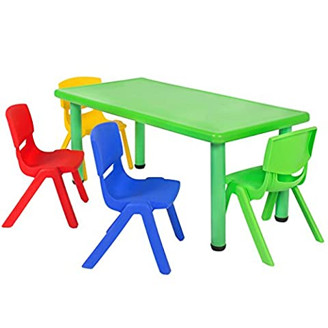 Best Choice Products Multicolored Kids Plastic Table And 4 Chairs Set Colorful Furniture Play Fun School (Plastic Chairs Set Of 4)