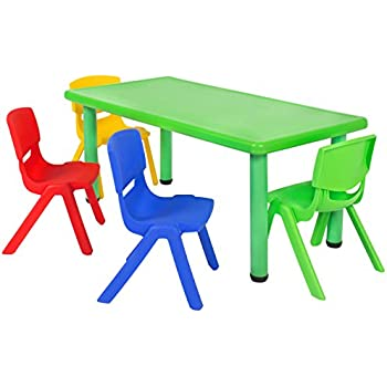 Amazon Com Costzon New Kids Plastic Table And 4 Chairs