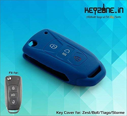 Keyzone Silicone Flip Key Cover for Tata Tiago,Zest,Bolt,Safari Storme (Blue) product image
