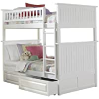 Nantucket Bunk Bed with 2 Raised Panel Bed Drawers, Twin Over Twin, White