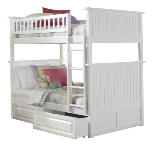 Cheap Atlantic Furniture Nantucket Bunk Bed with 2 Raised Panel Bed Drawers, Twin Over Twin, White