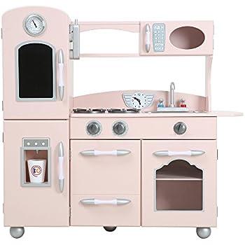 kidkraft pink retro play kitchen and refrigerator