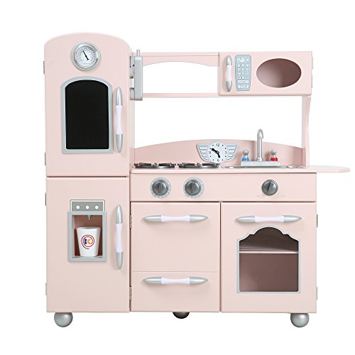 Teamson Kids - Retro Wooden Play Kitchen with Refrigerator, Freezer, Oven and Dishwasher - Pink (1 Pieces) (Refrigerator Play Wooden)