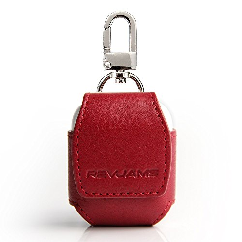 AirPods Case, RevJams Premium Leather Pouch Carrying Case for Apple Wireless AirPod Headphone Charging Case w/ Secure Magnetic Closure & Metal Key Ring Clasp - Red