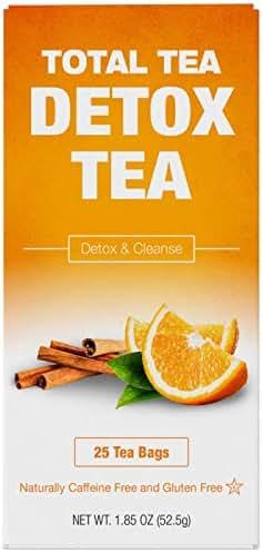 TotalTea Caffeine Free Detox Tea - All Natural - Slimming Herbal Tea for Gentle Cleansing - 25 Teabags