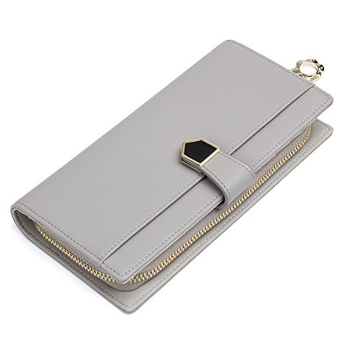 Clearance,NAWO Genuine Leather Wallet for Women Slim Clutch Purse Zip Long Designer Trifold Checkbook Ladies Credit Card Holder (Designer Ladies Wallets)