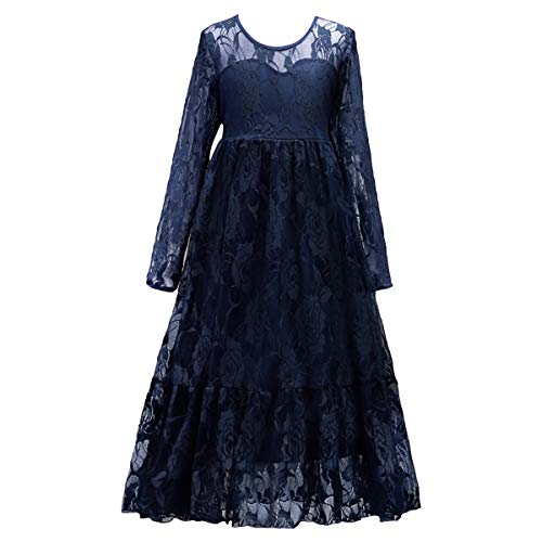 (Kids Girl White Ivory Long Sleeve Flower Lace Tulle Princess Dress Boho Rustic Wedding Party Maxi Gown Navy Blue 6-7)